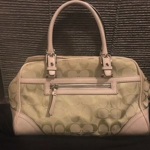 Geeen and white coach bag
